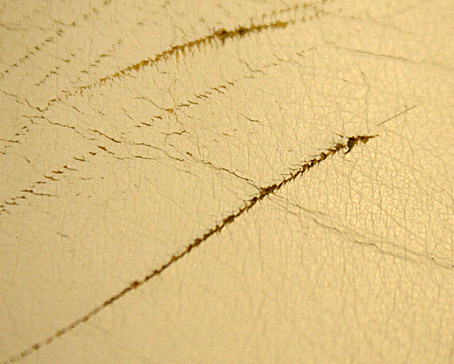 Scratches on leather